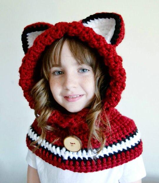 Children \' s sombrero de zorro Fox con capucha capelet Fox capucha ...