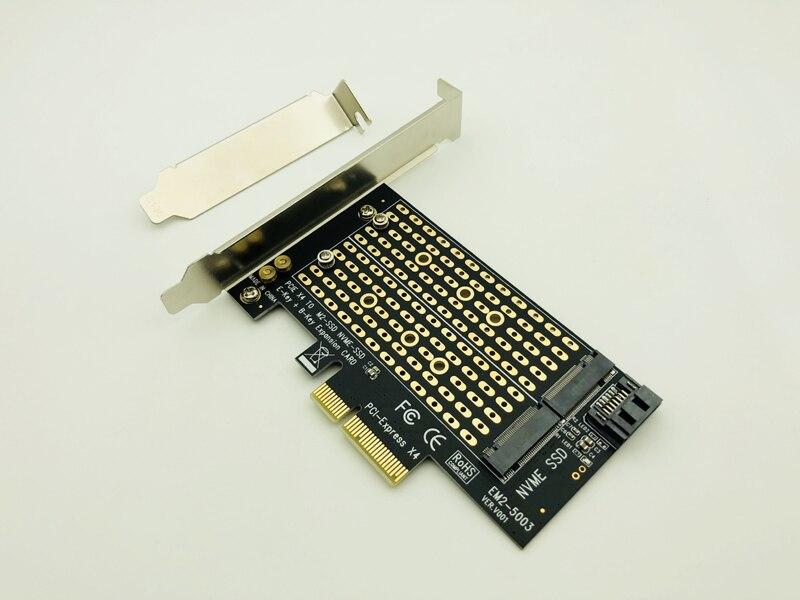 M Key B KEY Dual interface Card NVME+SATA M.2 NGFF to PCIe 4x Adapter Card