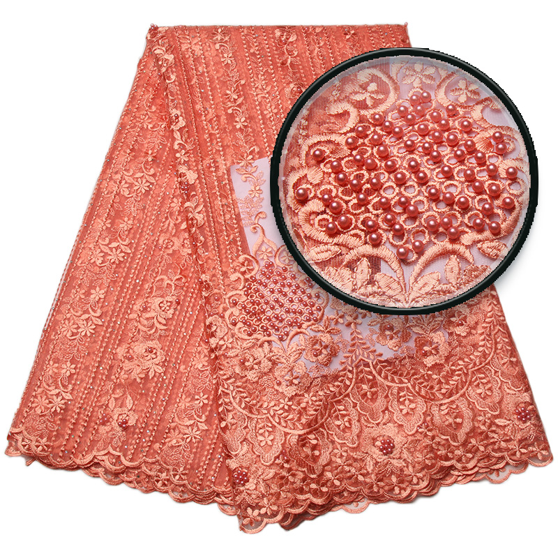 Latest Peach African Lace Fabric 2018 High Quality Lace Embroidery French Mesh With Beads Nigerian Lace Fabrics Material XY1334B