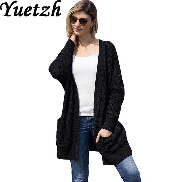 Women Autumn Winter Plus Size Cardigans Sweaters Long Sleeve Solid