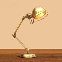American fashion Decorative LED retro bronze rocker table lamp hotel bedroom lamp bedside lamp study lamp FG357