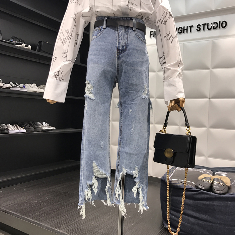 New 2019 Straight Jeans Women Denim Pants Holes Destroyed Pants Casual Trousers Oversized 100kg Stretch Ripped Jeans Plus Size 7