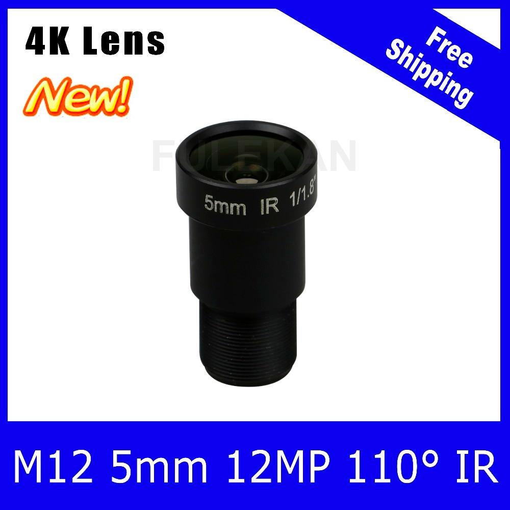 ФОТО (4K Lens) 12Megapixel Fixed M12 Lens 5mm 110 Degree For 4K IP CCTV camera or 4K Sport Action DV Free Shipping