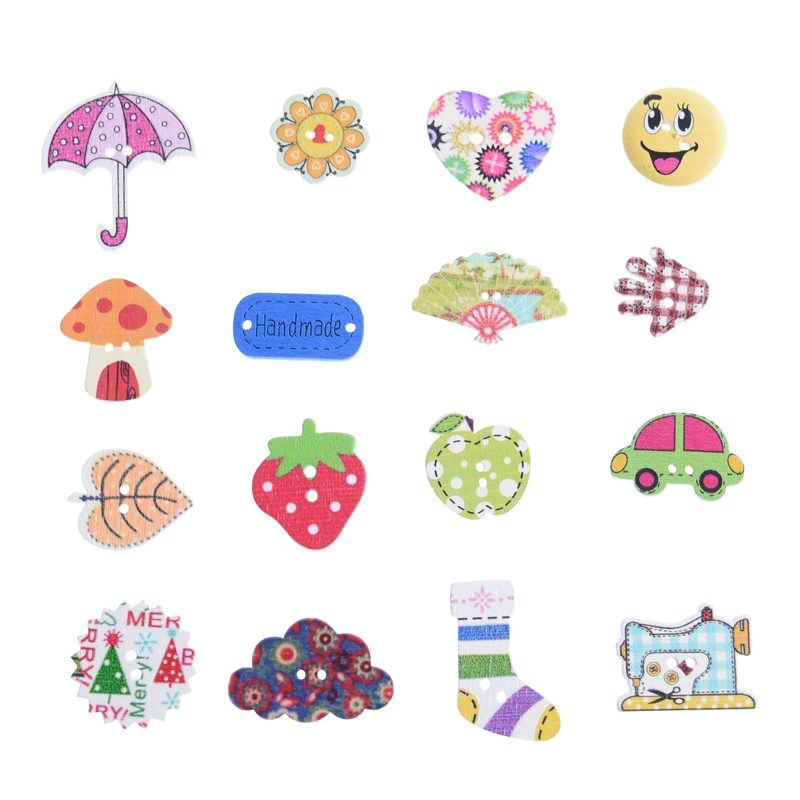50 Pcs Animal Wooden Buttons for Scrapbooking Crafts DIY Baby Manual Educational Clothing Apparel Sewing Accessories Decoration