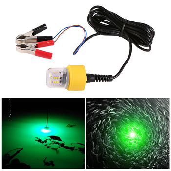 цена на 12V 15W Underwater Night Fishing Light 360 Degree LED Fish Finder Lamp with 5.5M Cord White/Yellow/Green