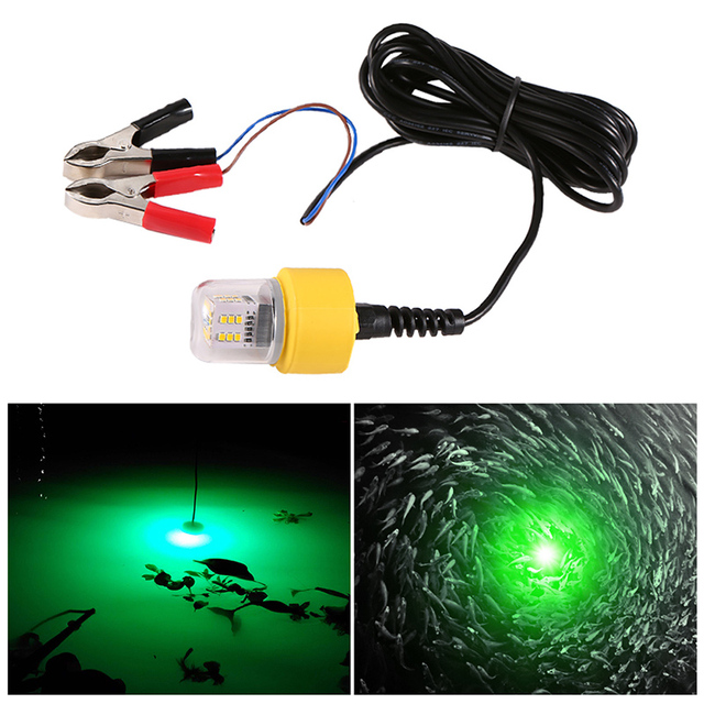 $ 30.09 12V 15W Underwater Night Fishing Light 360 Degree LED Fish Finder Lamp with 5.5M Cord White/Yellow/Green