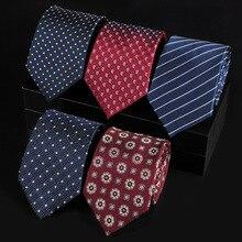 קלאסי אופנה 100% טבעי משי עניבה לגברים עניבות עניבה אמיתי משי Man עניבת פסים כחול אדום מקצועי חתן חתונה המפלגה