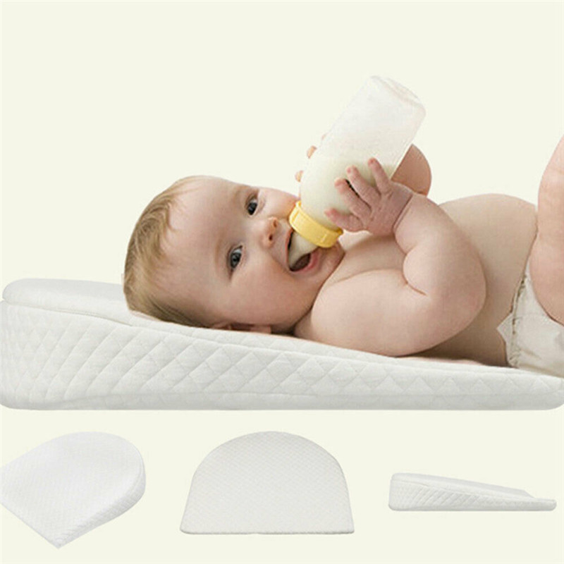Newborn Baby Sleeping Pillow Cot Bed Two Wedge Anti Roll Pad