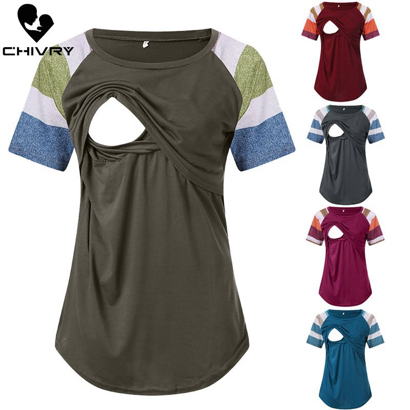 Chivry Maternity Tops Breastfeeding Clothes Stripe Short Sleeve Pregnant Clothes Summer Women Nursing Tops Pregnancy T Shirt