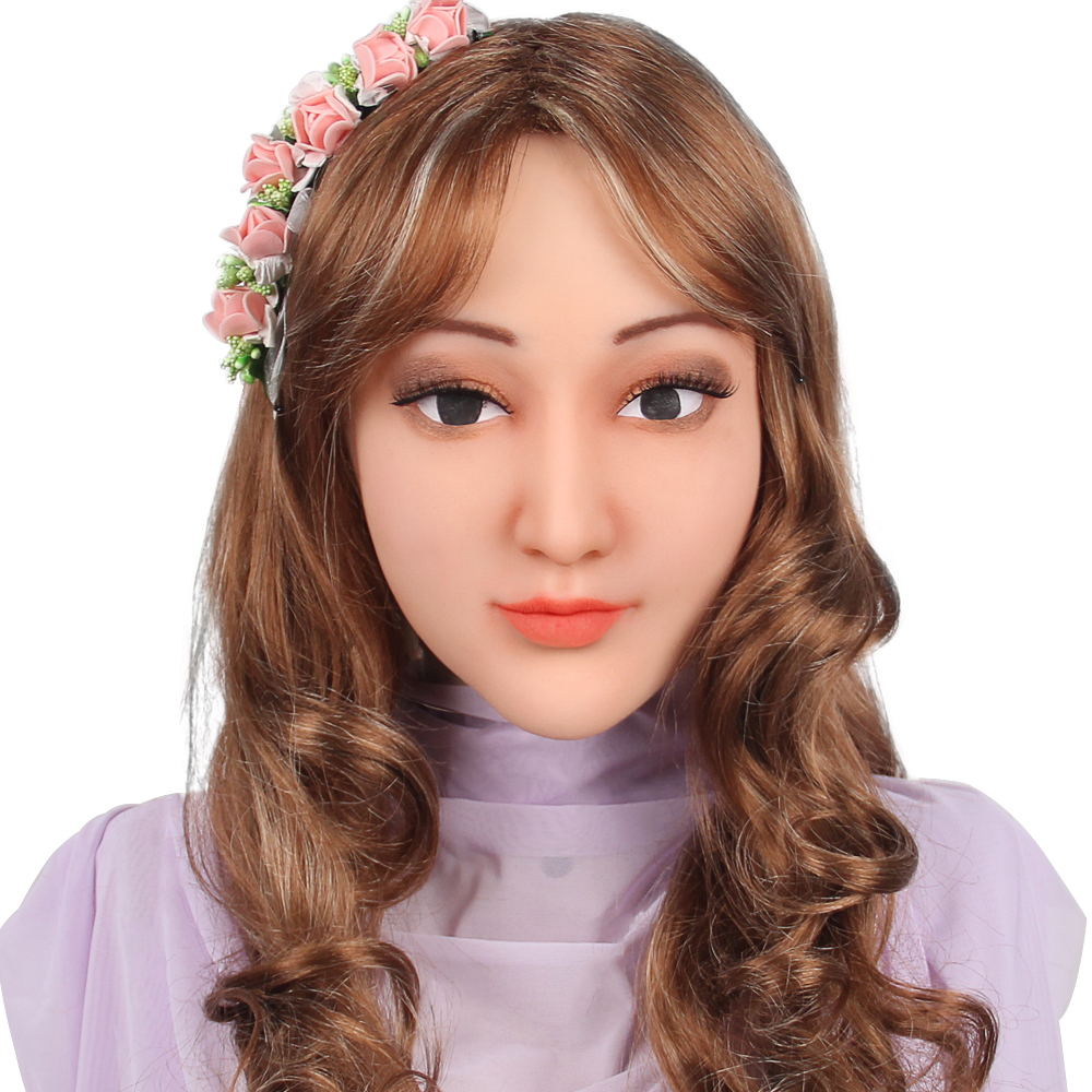 KOOMIHO doux Silicone réaliste femme tête masque fait main maquillage masque Crossdress Cosplay masque transgenre Halloween masque 1G