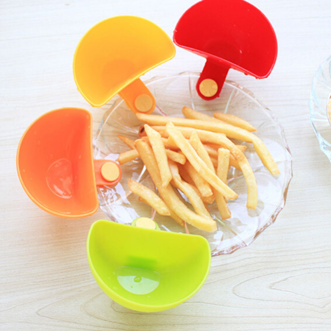 1pc Assorted Salad Sauce Dip Saucers Ketchup Dip Clip Cup Bowl for Tomato Salt Vinegar Sugar Flavor Splice Kitchen Accessories image