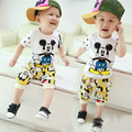 2016 Baby Boy Summer Clothing Brands Set Shirt + Shorts Kid Boy suit childern Cartoon Sports Suit Vest clothes Set free shipping