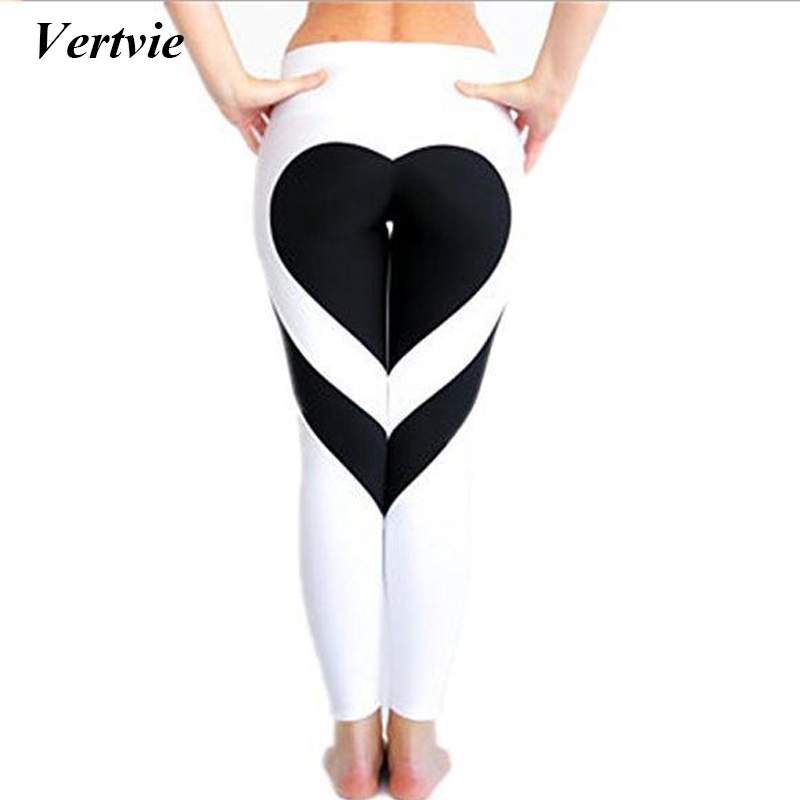 Prix pour Vertvie Coeur Motif de Remise En Forme Leggings Femmes Élasticité Patchwork Yoga Pantalon À Séchage Rapide Gym Courir Sport Workout Pants Collants