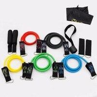 SzBlaZe 11Pcs/Set Natural Latex Gym Fitness Resistance Bands Exercise Pilates Yoga Tubes Pull Rope Expanders Training Practical