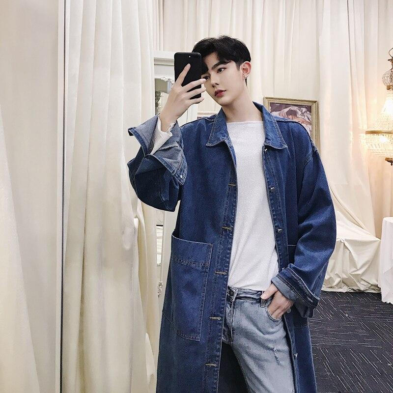 2018 Männer Der Mode Wiederherstellung Cowboy Oberbekleidung Overknee Graben Windjacke Revers Lose Denim Jacke Casual Schwarz/blau Mäntel M-2xl