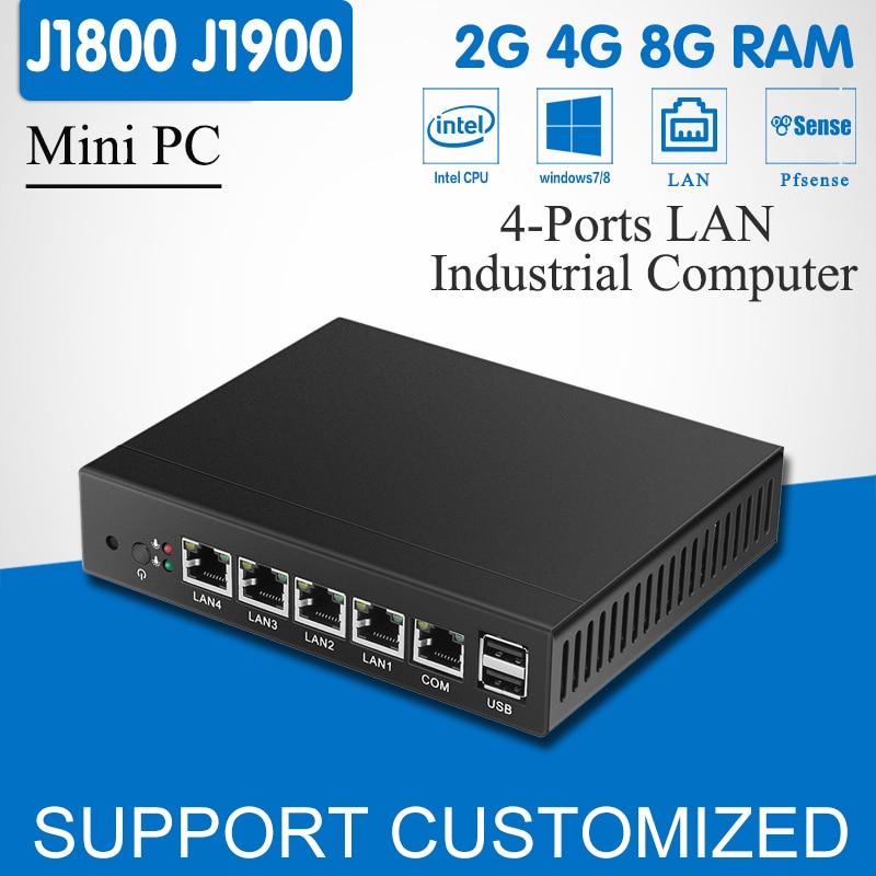 Mini PC Quad Core Celeron J1900 4 LAN Router Firewall Fanless J1800 Mini Computer Desktop Windows 10/8/7 HD Graphics VGA 4-RJ45
