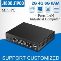 Mini PC Quad Core Celeron J1900 4 LAN Router Firewall Fanless J1800 Mini Computer Deaktop Windows
