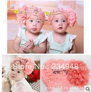 FREE SHIPPING---Korea BIG flower WITH PEARL LACE   hat  girls headbands cute baby hair bands headwear