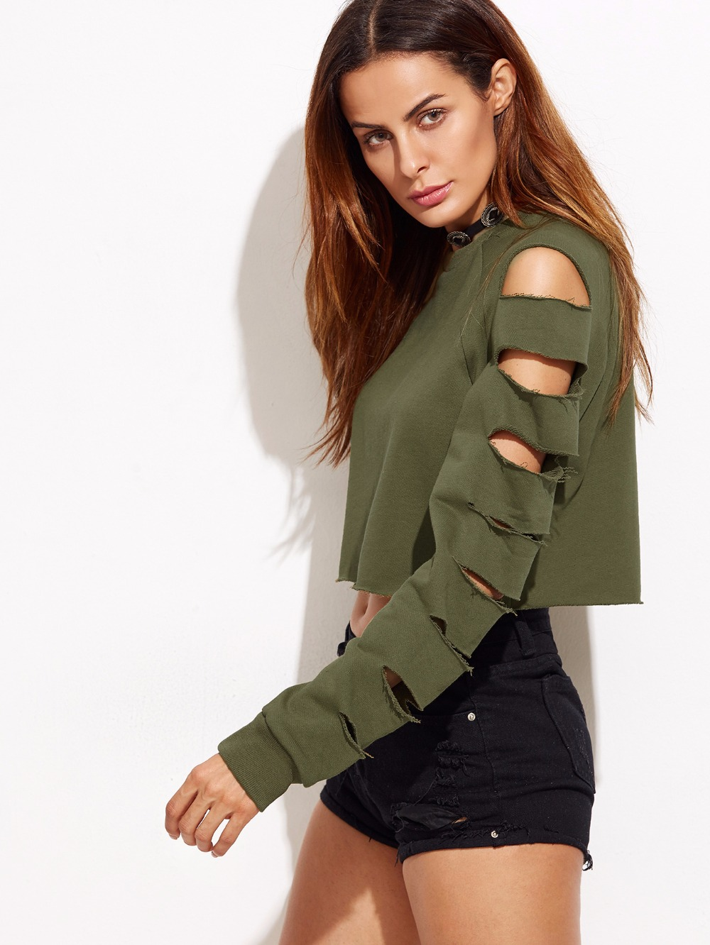 Army-Green-Ladder-Cut-Out-Sleeve-Raw-Hem-Sweatshirt-Women-Sexy-Crop-Tops-Female-Fashion-Clothing (1)