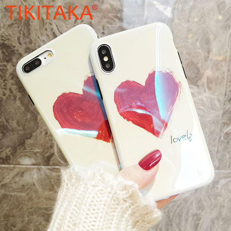 Fashion Blue Ray Love Heart Case For iPhone X 10 8 7 6 6S Plus Cover Slim Glossy Shining Painting Soft IMD TPU Phone Cases Shell