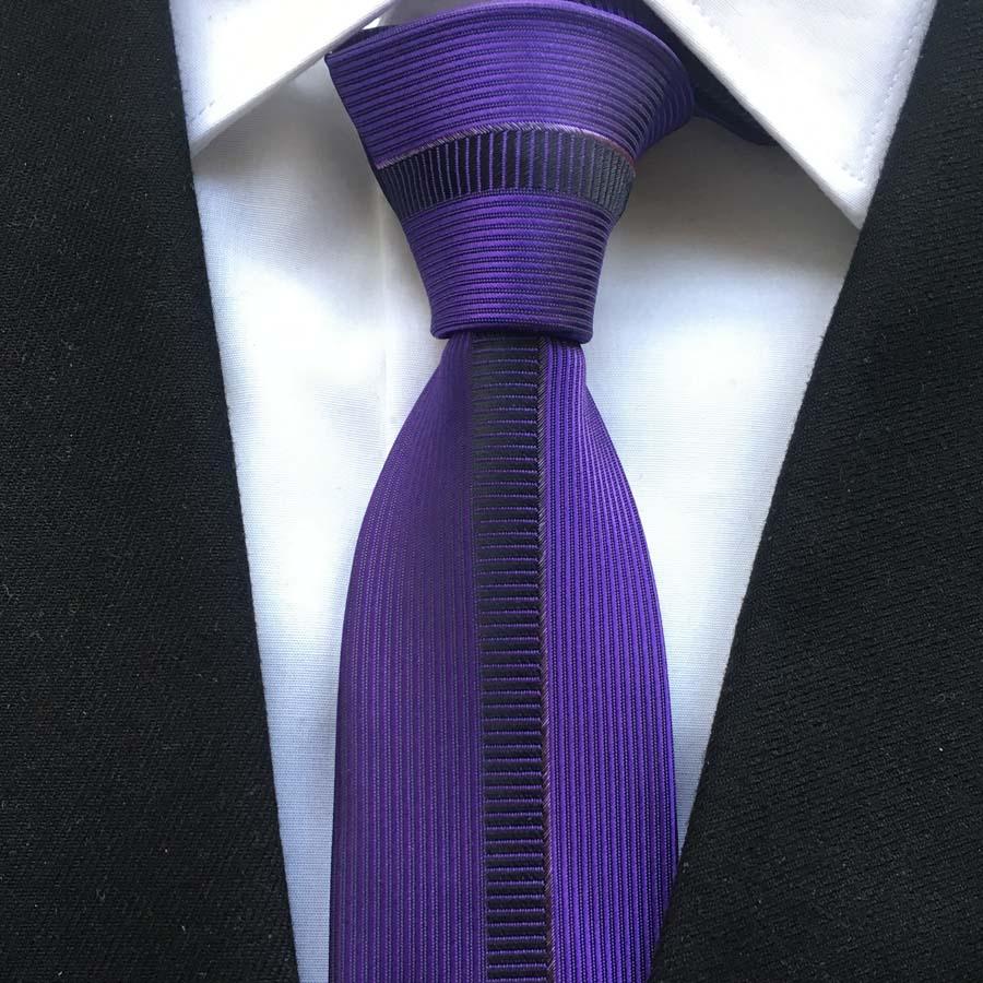 Young Men Fashion Panel Tie Unique Skinny Necktie Purple With Vertical Stripes