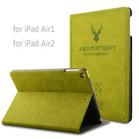 Deer Style Smart Wake Leather Case For IPad Air1 Air2 Luxury Cover Flip Stand Protective Case