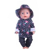 قبعة Luckdoll + ملابس + سروال ثلاث قطع معطف واق من المطر ل 43 سم طفل ولد zapf دمية ، وأفضل هدية للأطفال عطلة