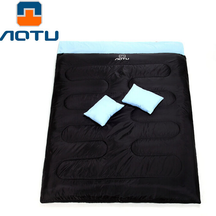 AOTU Outdoor Camping Hiking Double Sleeping Bag with 2 Pillows Autumn Winter Thermal Double Sleeping Bag Best Price west biking camping sleeping bag lunch adult sleeping bag can fight double sleeping spring autumn and winter thick sleeping bag