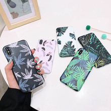 Print Leaf Phone Case For iPhone 7 8 6 6S Plus X XR 11 Pro XS MAX Soft Silicone Feather TPU Shell Marble Back Cover Cases Coque leaf print iphone case