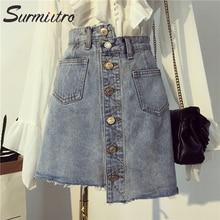 Surmiitro размера плюс 5XL Летняя джинсовая юбка женская мода карман Кнопка Высокая талия большой солнце школа мини джинсовая юбка женская