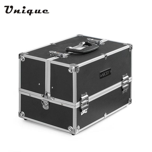 Abody Aluminum Makeup Train Case Jewelry Storage Box Cosmetic Organizer  Lockable With Straps U0026 4 Extendable