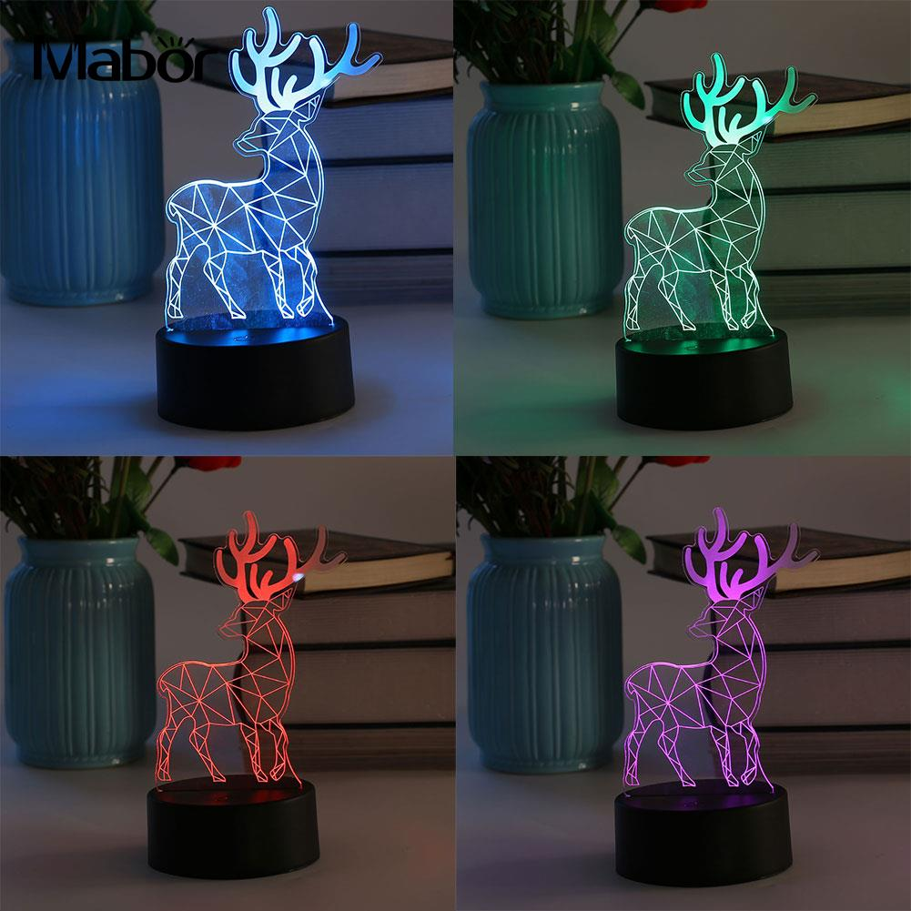 USB LED Night Light Table Desk Lamps Deer Shape Christmas Room Decoration Gift ...