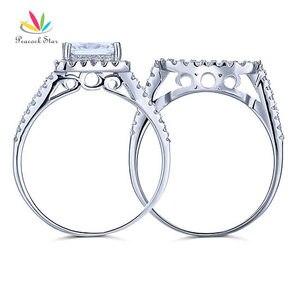 Image 5 - الطاووس ستار 1.5 قيراط الأميرة الصلبة 925 فضة الزفاف وعد خاتم الخطوبة مجموعة CFR8141