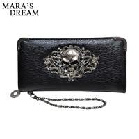 Mara S Dream 2018 Long Wallets Fashion Metal Skull Pattern PU Leather Women Wallets Portable Casual
