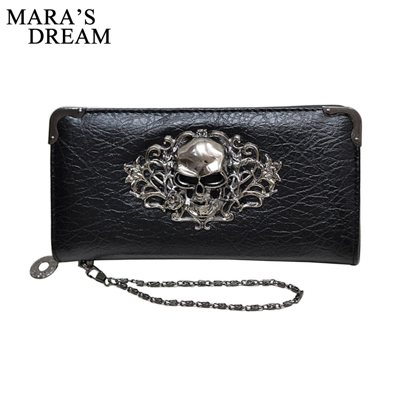 Women LeatherCrown And Skull Pattern Wallet Large Capacity Zipper Travel Wristlet Bags Clutch Cellphone Bag