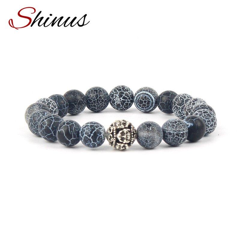 Shinus Men Bracelet Women Bracelets Jewelry Natural Stone Beads Chakra Healing Mens Vintage Unisex Wrist Energy Gifts Husband
