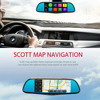 7 Inch Dual Lens Rearview Mirror Full HD Bluetooth WIFI FM GPS Navi Free Map ROM