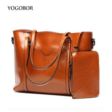 YOGOBOR bag 2017 classic ladies leather-based purse transient shoulder baggage brown/black giant capability luxurious purses tote baggage design