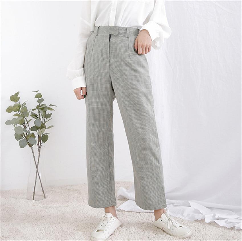 MLCRIYG High waist slim retro British style leisure Haren Plaid pants