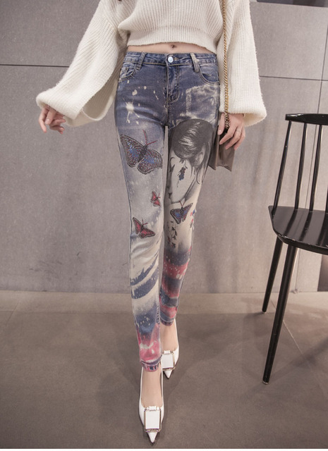 Eastic Pencil Tight Vintage Skinny Jeans Black jean Women Street Style Long Skinny Pants With Painted Ladies Jeans Leggings