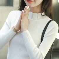 Kobiety Swetry I Swetry 2017 Jesień Zima Pani Biały Słodki Sweter Z Golfem Stałe Szczupła Sexy Elastyczna Kobiet Pull Topy 012