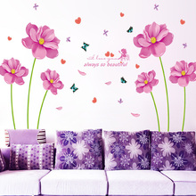 Butterfly Fairy Pink Flowers Wall Stickers PVC Material Butterfly Elves DIY Wall Decal For Living Room Bedroom Home Decor Murals