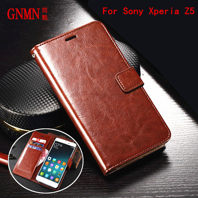 GNMN Premium Leather Cover Card Holder Holster <font><b>Z5</b></font> Flip Case For <font><b>Sony</b></font> <font><b>Xperia</b></font> <font><b>Z5</b></font> E6603 E6633 <font><b>E6683</b></font> Photo Frame Fashion Phone Shell image