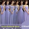 Элегантный лаванда кружева длинные платья невесты шесть стилей лаванда платья невесты / свадьбы ну вечеринку платье