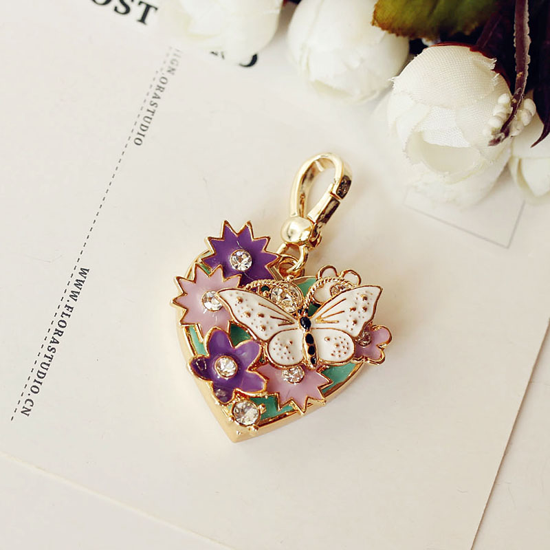 Fashion Brand New Heart Shaped Butterfly & Purple Flower Charm For Bracelet, Necklace,handbag Or Keychain Women Pendant