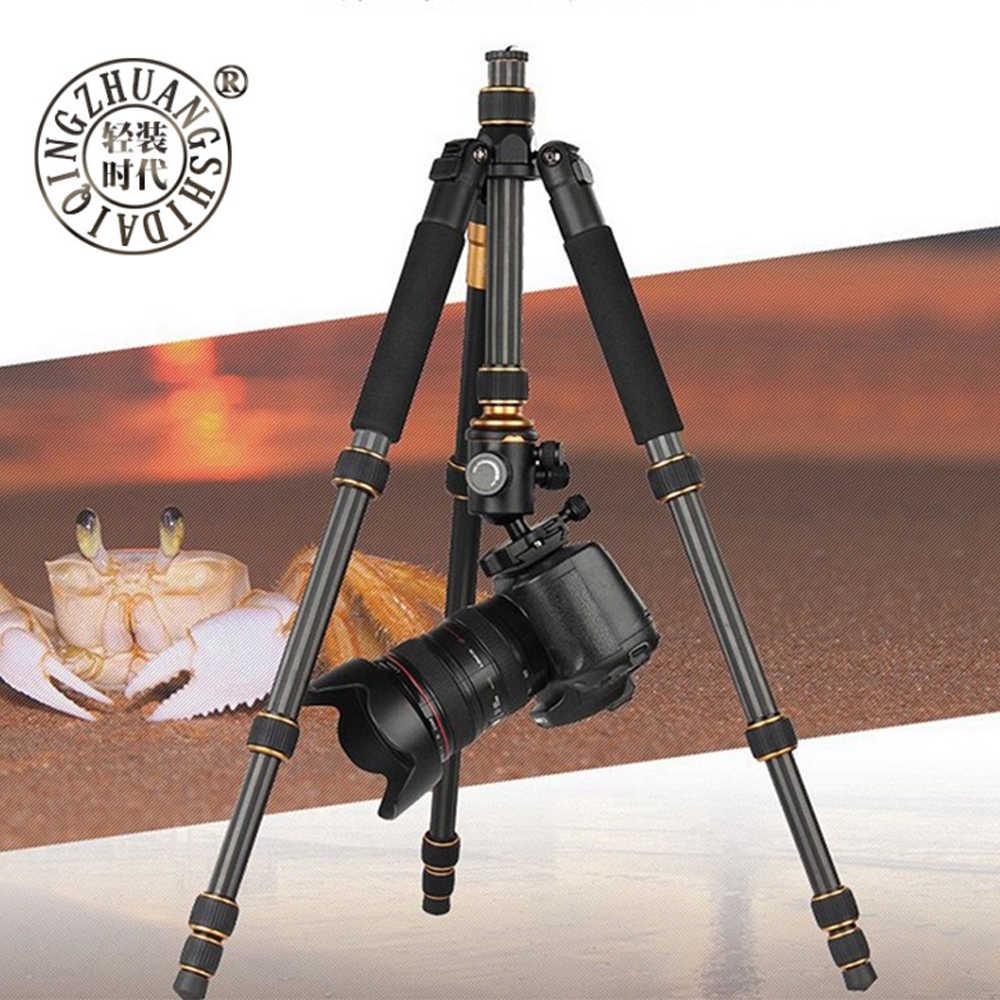 QZSD Q666C углеродного волокна шариковая головка для трипода монопода для цифрового однообъективного зеркального фотоаппарата свет Портативный подставка компактный профессиональный штатив-Трипод