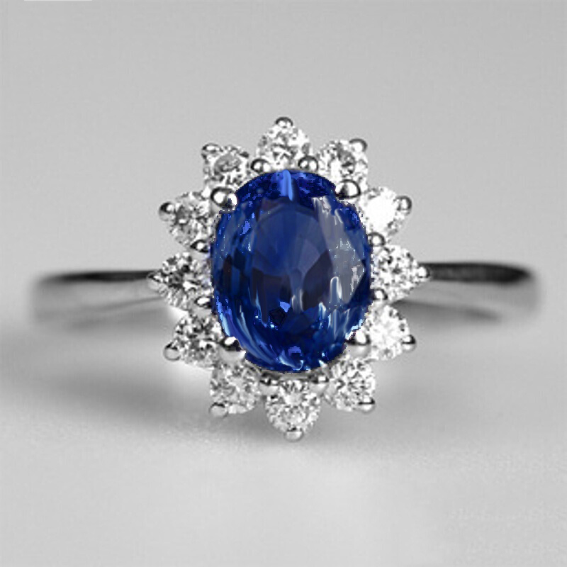 Blue Large Stone Princess Cut Silver Crystal Rings For Women Girl Engagement Birthday Gift Jewelry Luxury Silver 925 Ring Mens