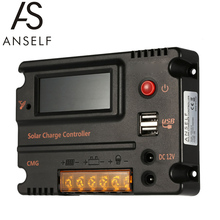 Anself contrôleur de Charge solaire, 20A, panneau avec écran LCD CMG 2420, régulateur de batterie, interrupteur automatique, Protection contre la surcharge, Compensation de température