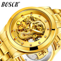 BOSCK Top Brand Luxury Gold Dragon Quartz men Watch Waterproof man Wristwatches affordable Unique Stainless Steel male Watch