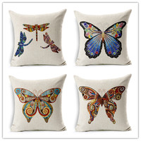 New Fashion Cartoon Style Home Decor Cotton Linen Cushion Butterfly Print Sofa Throw Pillow Decor Square Cojines